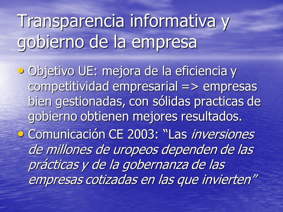 BUEN GOBIERNO: Principios e informes OCDE 1998: Principios OCDE 1998: Principios CE 2003: Comunicación: recomendaciones CE 2003: Comunicación: recomendaciones España: España: * Informes: Olivencia 1998, Libro Blanco reforma contable 2002, Aldama 2003 * Leyes: Financiera 2002, Transparencia 2003 USA: Informe COSO 1987, Ley Sarbanex Oxley 2002 USA: Informe COSO 1987, Ley Sarbanex Oxley 2002