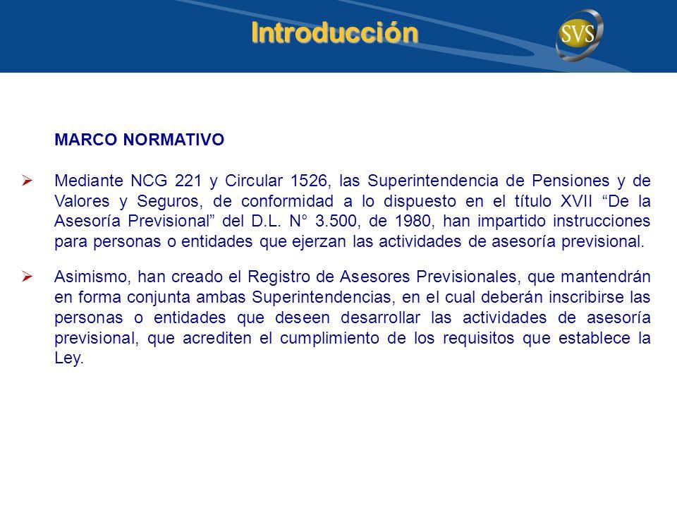 Introducción MARCO NORMATIVO Mediante NCG 221 y Circular 1526, las Superintendencia de Pensiones y de Valores y Seguros, de conformidad a lo dispuesto