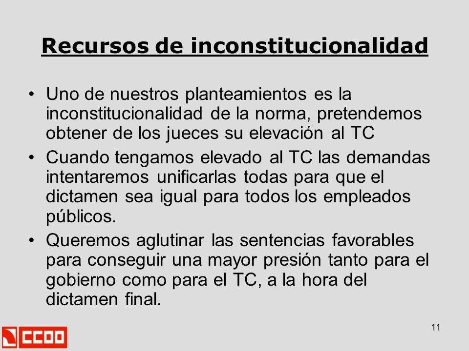 11 Recursos de inconstitucionalidad Uno de nuestros planteamientos es la inconstitucionalidad de la norma, pretendemos obtener de los jueces su elevac