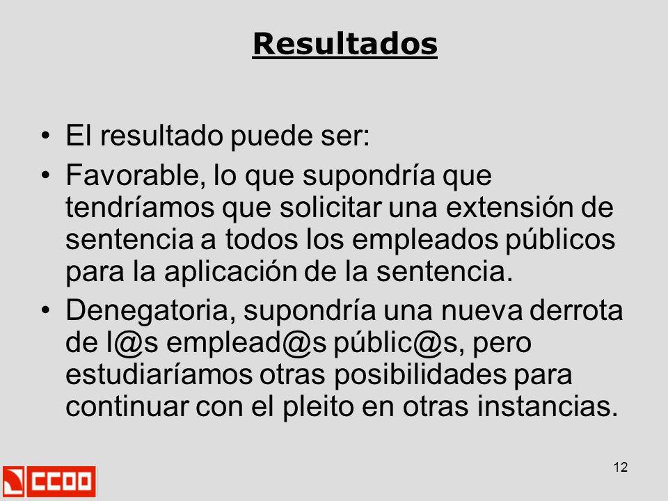 12 Resultados El resultado puede ser: Favorable, lo que supondría que tendríamos que solicitar una extensión de sentencia a todos los empleados públic