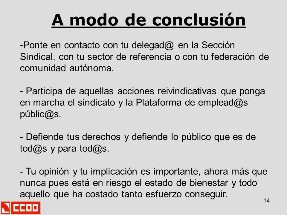14 A modo de conclusión -Ponte en contacto con tu delegad@ en la Sección Sindical, con tu sector de referencia o con tu federación de comunidad autóno
