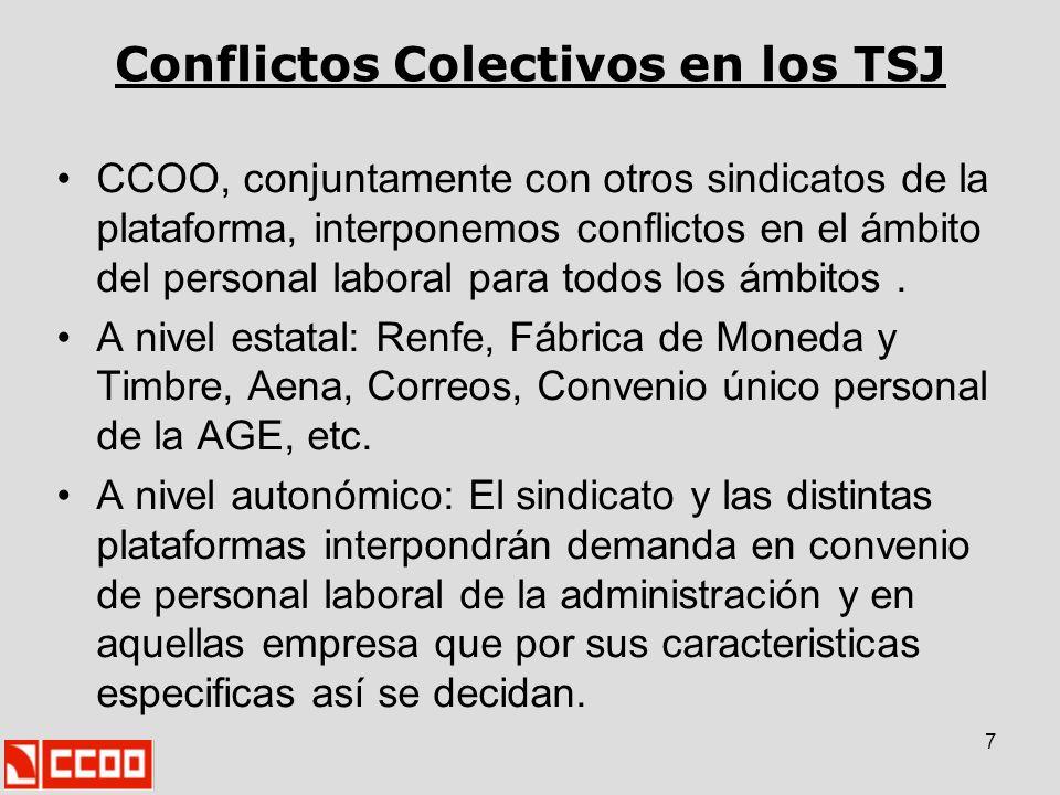 7 Conflictos Colectivos en los TSJ CCOO, conjuntamente con otros sindicatos de la plataforma, interponemos conflictos en el ámbito del personal labora
