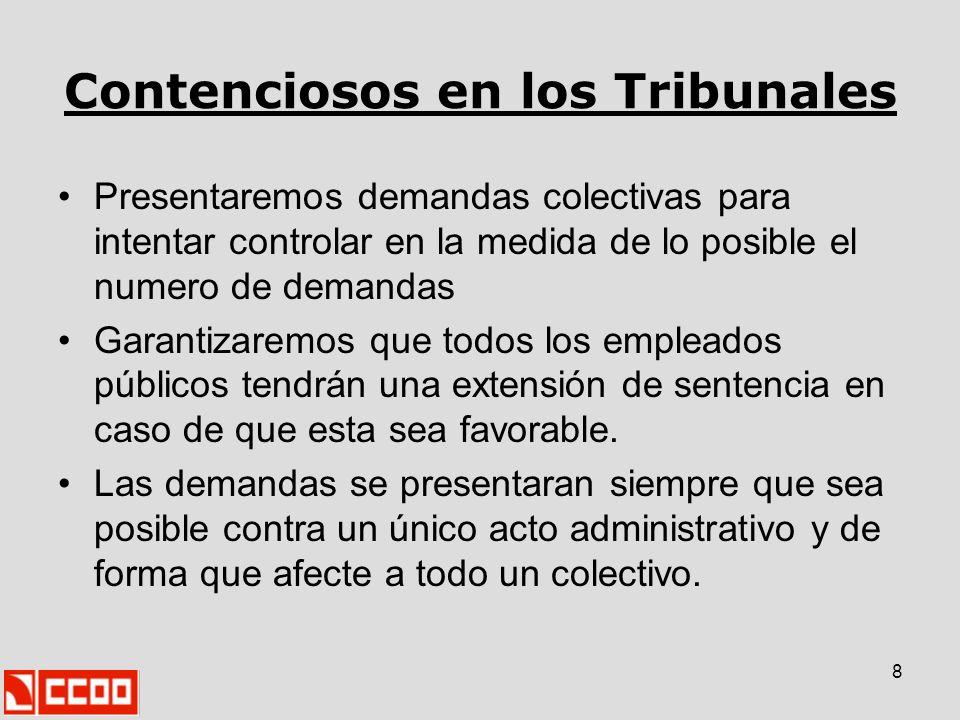 8 Contenciosos en los Tribunales Presentaremos demandas colectivas para intentar controlar en la medida de lo posible el numero de demandas Garantizar