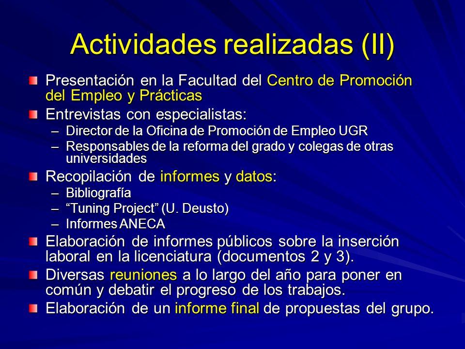 Actividades realizadas (II) Presentación en la Facultad del Centro de Promoción del Empleo y Prácticas Entrevistas con especialistas: –Director de la