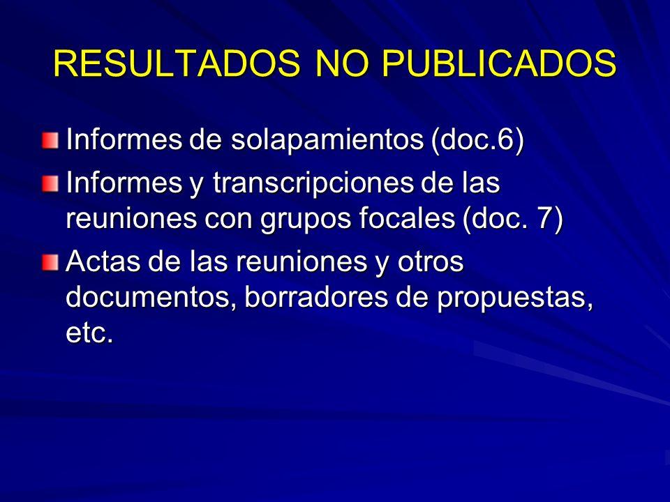 RESULTADOS NO PUBLICADOS Informes de solapamientos (doc.6) Informes y transcripciones de las reuniones con grupos focales (doc. 7) Actas de las reunio