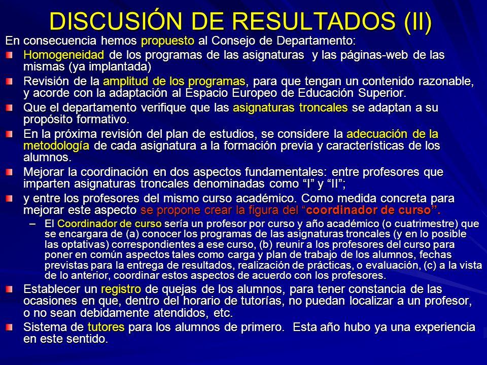 DISCUSIÓN DE RESULTADOS (II) En consecuencia hemos propuesto al Consejo de Departamento: Homogeneidad de los programas de las asignaturas y las página