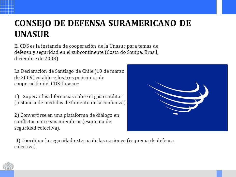 CONSEJO DE DEFENSA SURAMERICANO DE UNASUR El CDS es la instancia de cooperación de la Unasur para temas de defensa y seguridad en el subcontinente (Co