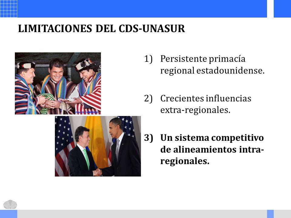 LIMITACIONES DEL CDS-UNASUR 1)Persistente primacía regional estadounidense. 2)Crecientes influencias extra-regionales. 3)Un sistema competitivo de ali