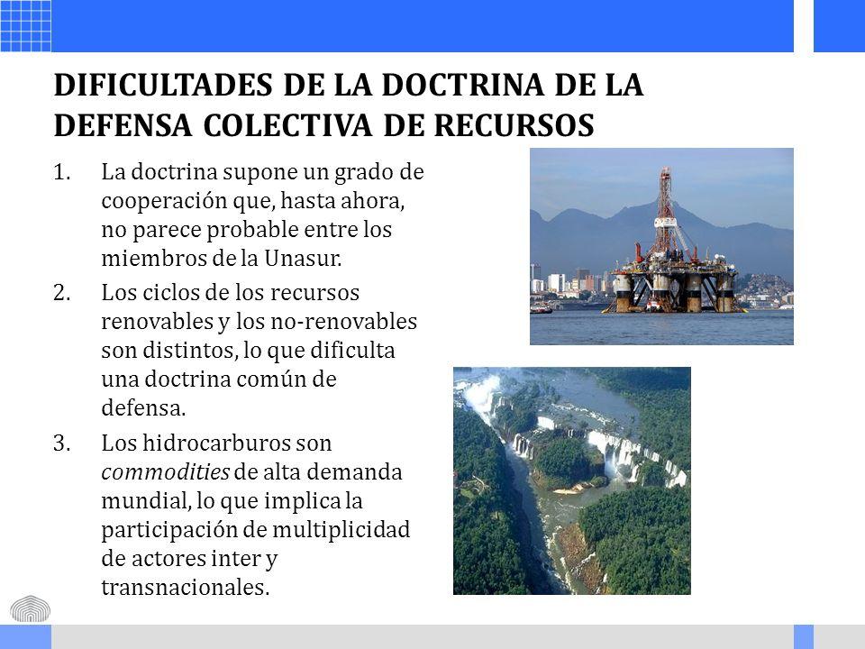 DIFICULTADES DE LA DOCTRINA DE LA DEFENSA COLECTIVA DE RECURSOS 1.La doctrina supone un grado de cooperación que, hasta ahora, no parece probable entr