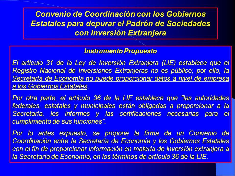 Objetivo Depurar y compartir el padrón de sociedades mexicanas con inversión extranjera en los Estados, a efecto de: Disminuir las diferencias entre l