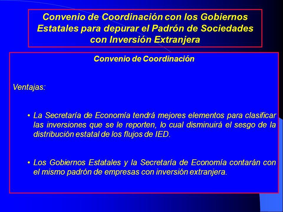 Convenio de Coordinación Información que entregará la Secretaría de Economía a los Gobiernos Estatales, por cada empresa con inversión extranjera: Nom