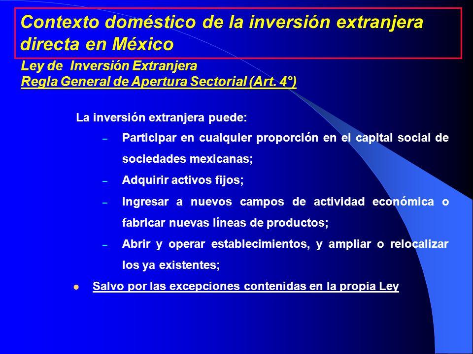 Constitución Política de los Estados Unidos Mexicanos (1917) Ley de Inversión Extranjera (1993) Reglamento de la Ley de Inversión Extranjera y del Registro Nacional de Inversiones Extranjeras (1998) Resoluciones Generales 6 y 7 de la Comisión Nacional de Inversiones Extranjeras (2006) Contexto doméstico de la inversión extranjera directa en México