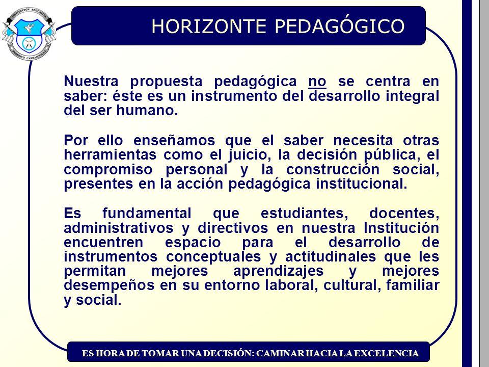 ES HORA DE TOMAR UNA DECISIÓN: CAMINAR HACIA LA EXCELENCIA HORIZONTE PEDAGÓGICO Nuestra propuesta pedagógica no se centra en saber: éste es un instrumento del desarrollo integral del ser humano.