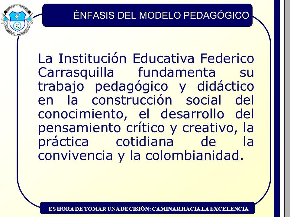 ES HORA DE TOMAR UNA DECISIÓN: CAMINAR HACIA LA EXCELENCIA EJES DE LA ACCIÓN EDUCATIVA 1.Desarrollo de aprendizajes y competencias.