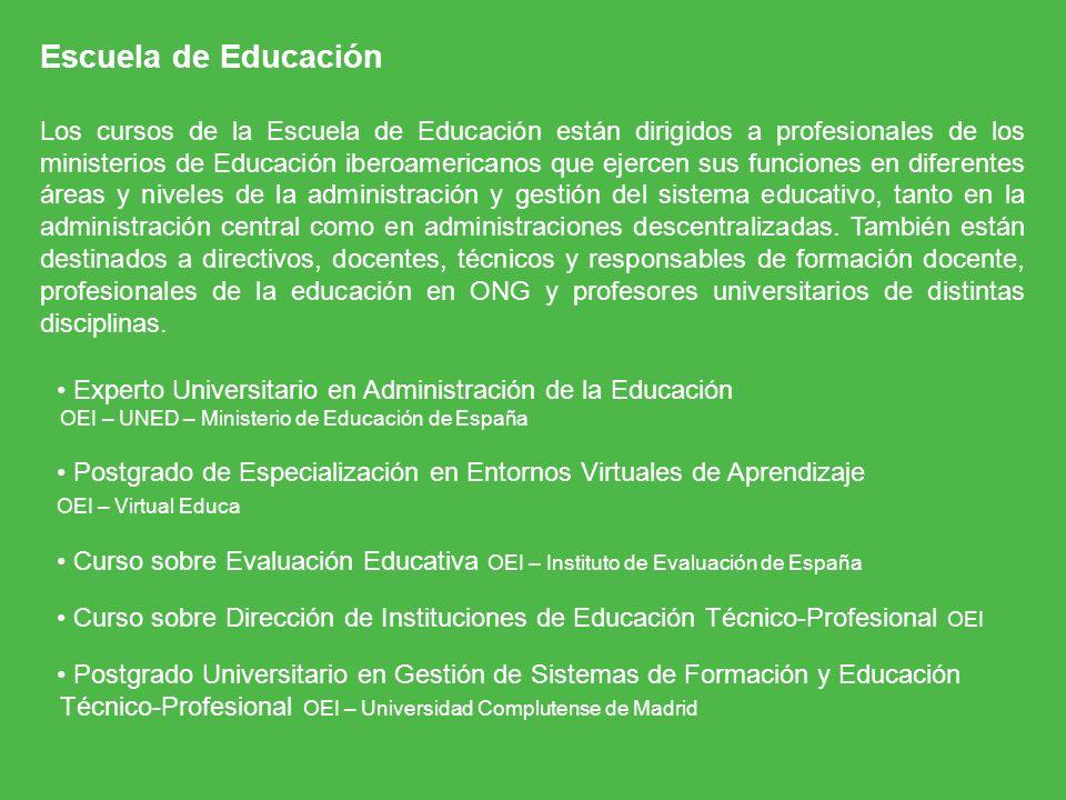Escuela de Educación Los cursos de la Escuela de Educación están dirigidos a profesionales de los ministerios de Educación iberoamericanos que ejercen
