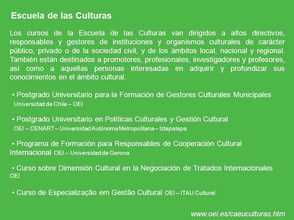 Escuela de las Culturas Los cursos de la Escuela de las Culturas van dirigidos a altos directivos, responsables y gestores de instituciones y organism