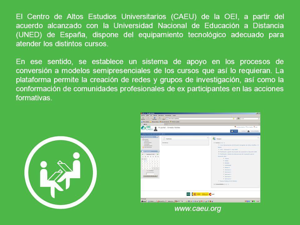 El Centro de Altos Estudios Universitarios (CAEU) de la OEI, a partir del acuerdo alcanzado con la Universidad Nacional de Educación a Distancia (UNED