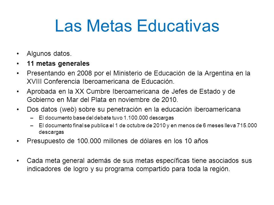 Las Metas Educativas Algunos datos. 11 metas generales Presentando en 2008 por el Ministerio de Educación de la Argentina en la XVIII Conferencia Iber