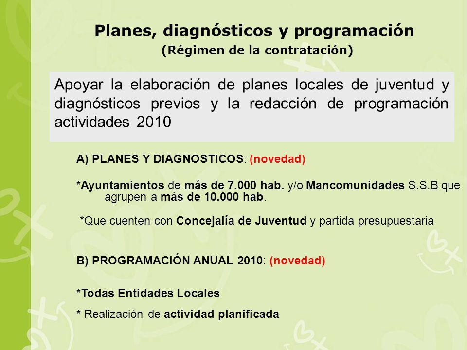 A) PLANES Y DIAGNOSTICOS: (novedad) *Ayuntamientos de más de 7.000 hab.