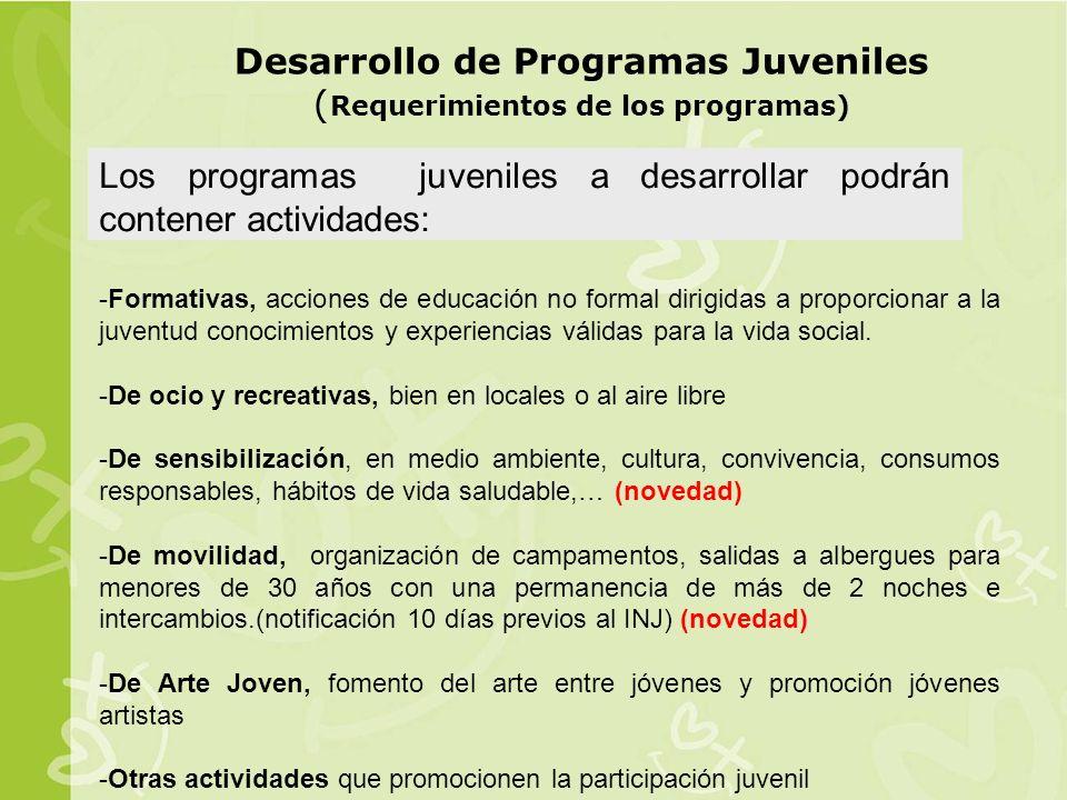 Desarrollo de Programas Juveniles ( Requerimientos de los programas) Los programas juveniles a desarrollar podrán contener actividades: -Formativas, acciones de educación no formal dirigidas a proporcionar a la juventud conocimientos y experiencias válidas para la vida social.