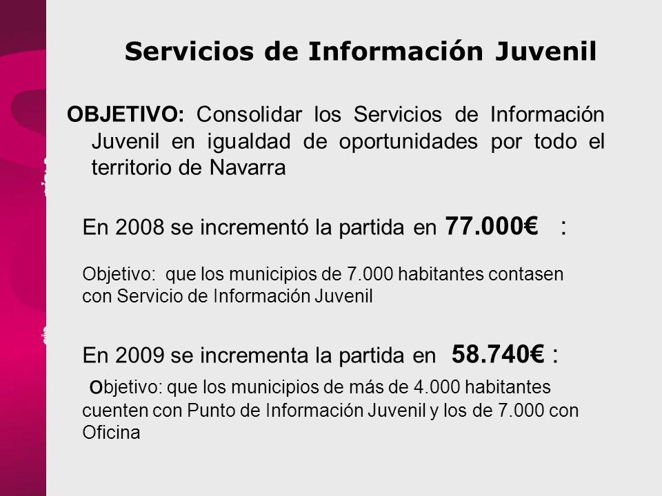 Servicios de Información Juvenil OBJETIVO: Consolidar los Servicios de Información Juvenil en igualdad de oportunidades por todo el territorio de Navarra En 2008 se incrementó la partida en 77.000 : Objetivo: que los municipios de 7.000 habitantes contasen con Servicio de Información Juvenil En 2009 se incrementa la partida en 58.740 : o bjetivo: que los municipios de más de 4.000 habitantes cuenten con Punto de Información Juvenil y los de 7.000 con Oficina