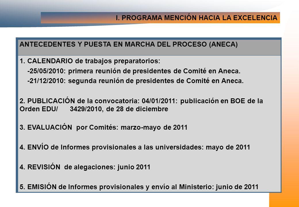 I. PROGRAMA MENCIÓN HACIA LA EXCELENCIA ANTECEDENTES Y PUESTA EN MARCHA DEL PROCESO (ANECA) 1.