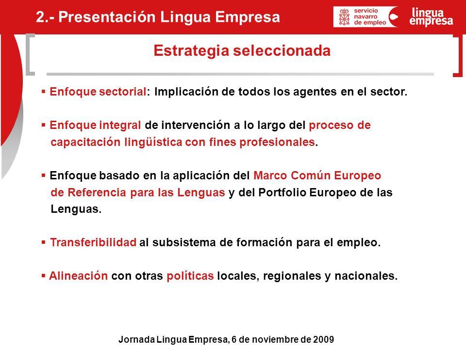 Jornada Lingua Empresa, 6 de noviembre de 2009 Estrategia seleccionada Enfoque sectorial: Implicación de todos los agentes en el sector. Enfoque integ