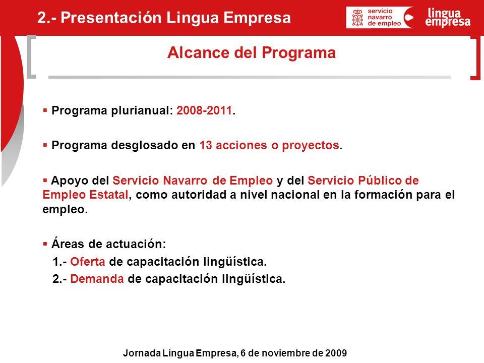 Jornada Lingua Empresa, 6 de noviembre de 2009 Alcance del Programa Programa plurianual: 2008-2011. Programa desglosado en 13 acciones o proyectos. Ap