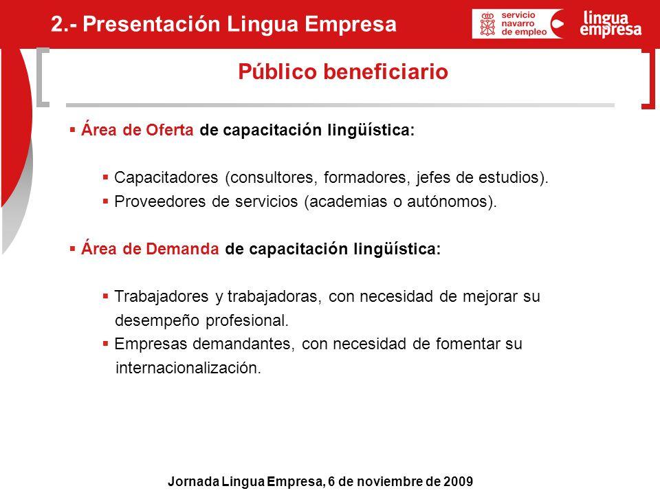 Jornada Lingua Empresa, 6 de noviembre de 2009 Público beneficiario Área de Oferta de capacitación lingüística: Capacitadores (consultores, formadores