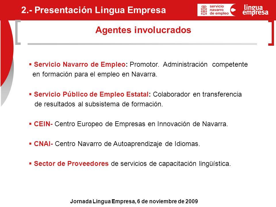 Jornada Lingua Empresa, 6 de noviembre de 2009 Agentes involucrados Servicio Navarro de Empleo: Promotor. Administración competente en formación para