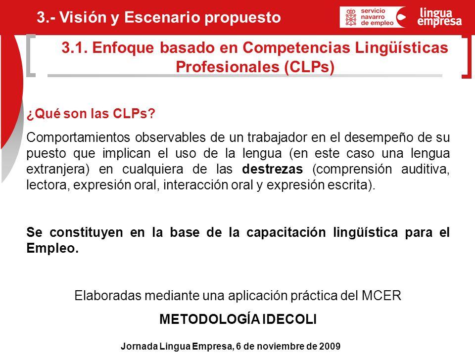 Jornada Lingua Empresa, 6 de noviembre de 2009 ¿Qué son las CLPs? Comportamientos observables de un trabajador en el desempeño de su puesto que implic