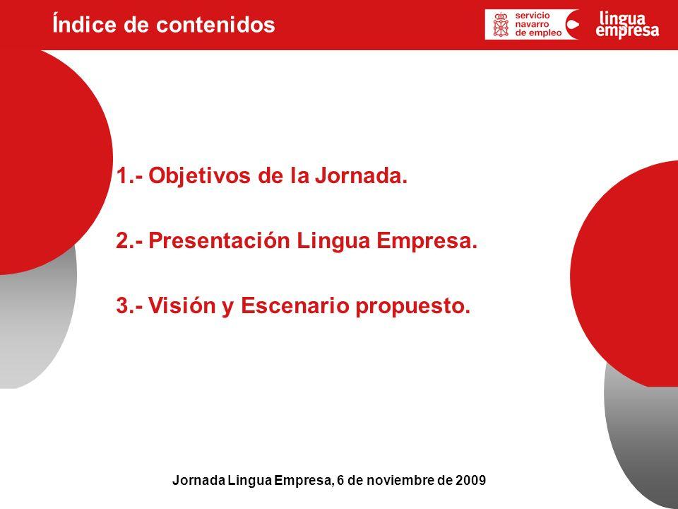 Índice de contenidos Jornada Lingua Empresa, 6 de noviembre de 2009 1.- Objetivos de la Jornada. 2.- Presentación Lingua Empresa. 3.- Visión y Escenar