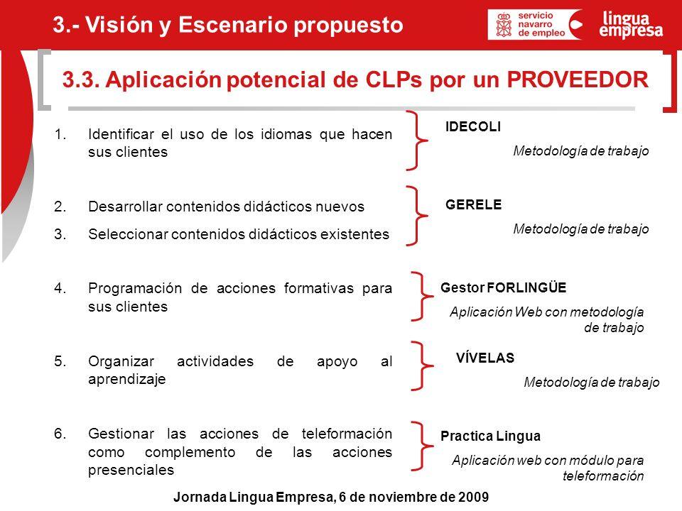 Jornada Lingua Empresa, 6 de noviembre de 2009 3.3. Aplicación potencial de CLPs por un PROVEEDOR 3.- Visión y Escenario propuesto 1. Identificar el u