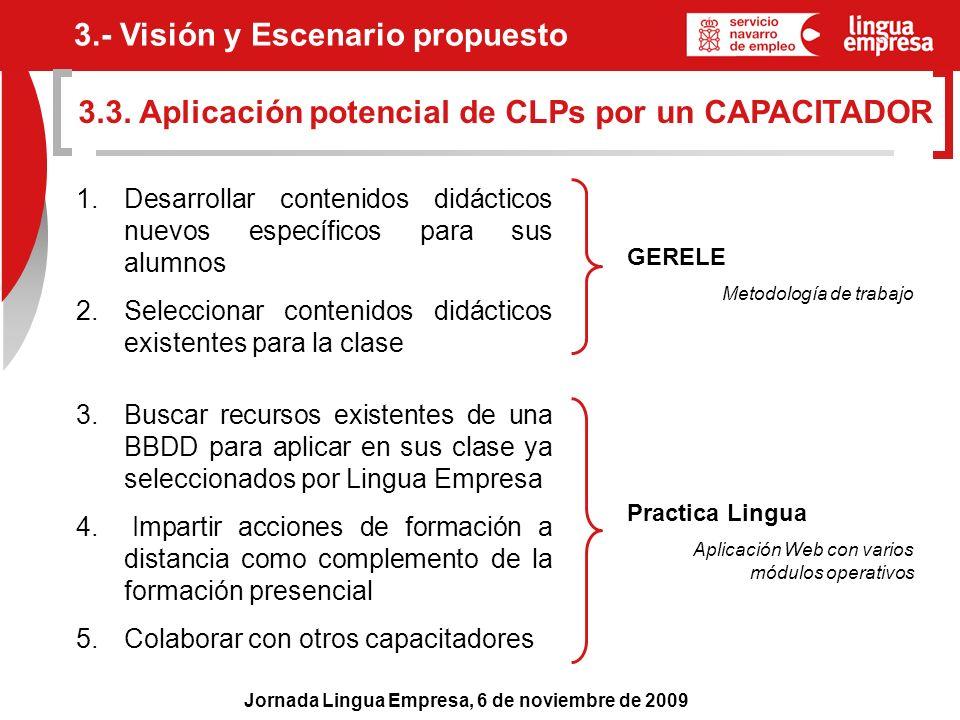 Jornada Lingua Empresa, 6 de noviembre de 2009 3.3. Aplicación potencial de CLPs por un CAPACITADOR 3.- Visión y Escenario propuesto 1. Desarrollar co