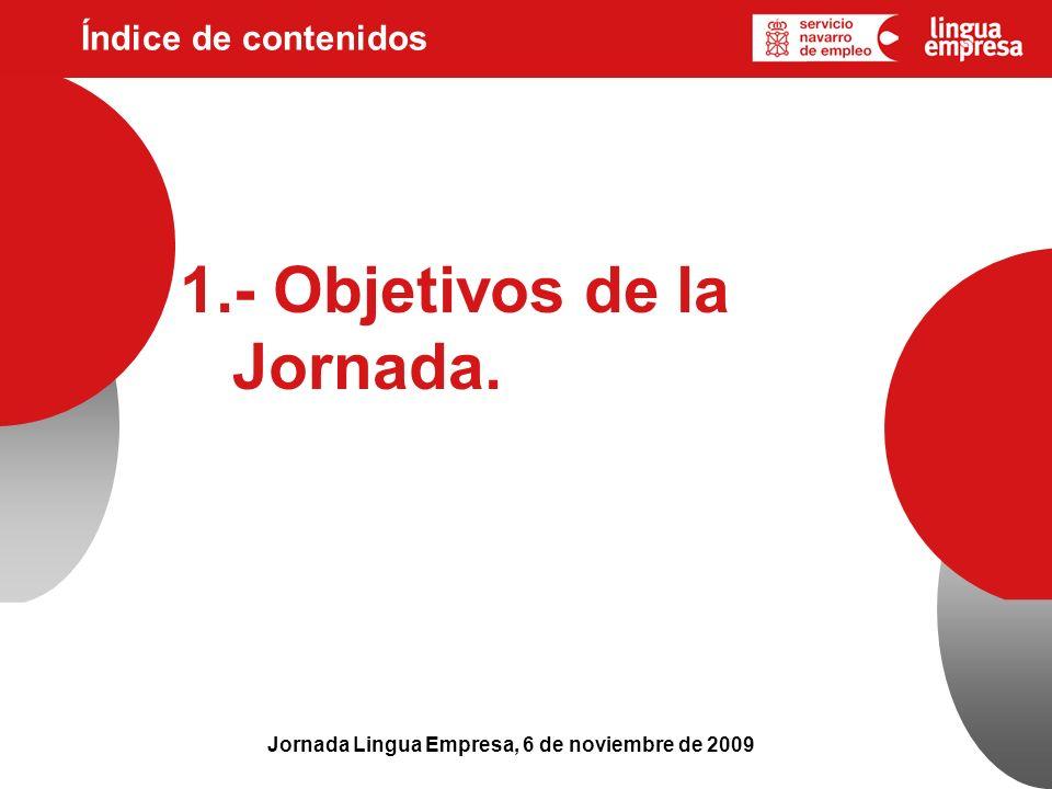 Índice de contenidos Jornada Lingua Empresa, 6 de noviembre de 2009 1.- Objetivos de la Jornada.
