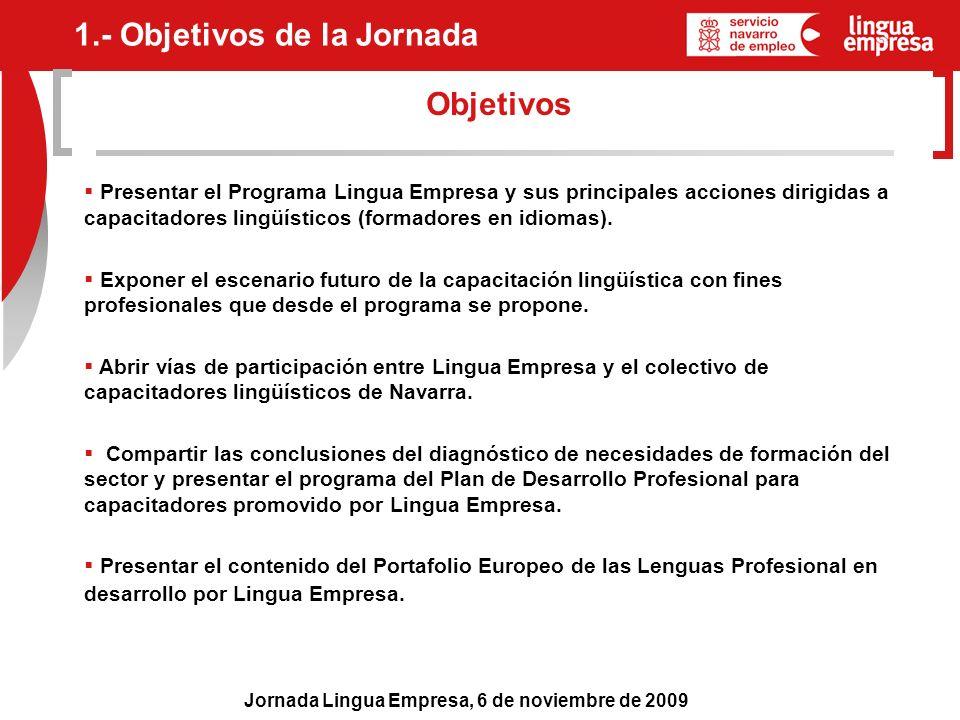Jornada Lingua Empresa, 6 de noviembre de 2009 Objetivos 1.- Objetivos de la Jornada Presentar el Programa Lingua Empresa y sus principales acciones d