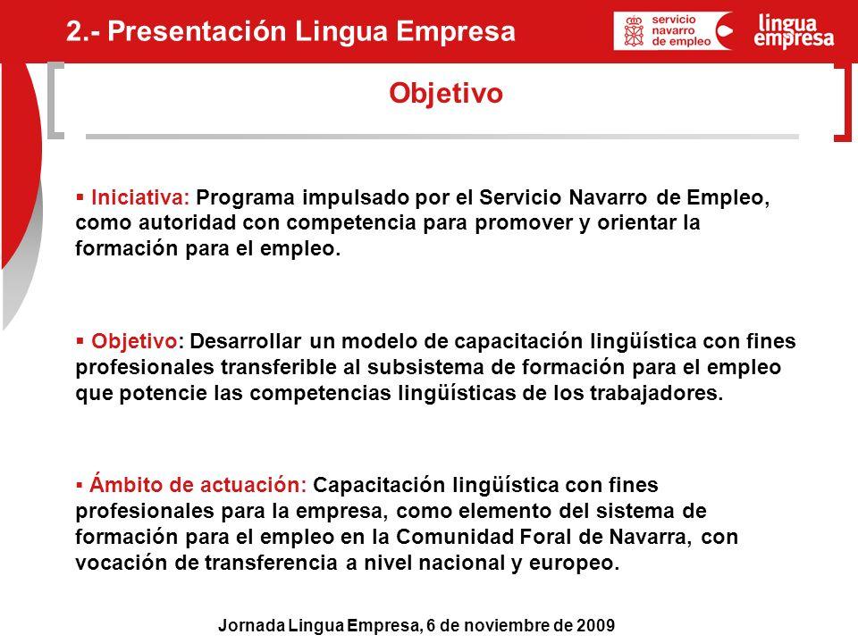 Jornada Lingua Empresa, 6 de noviembre de 2009 Objetivo 2.- Presentación Lingua Empresa Iniciativa: Programa impulsado por el Servicio Navarro de Empl