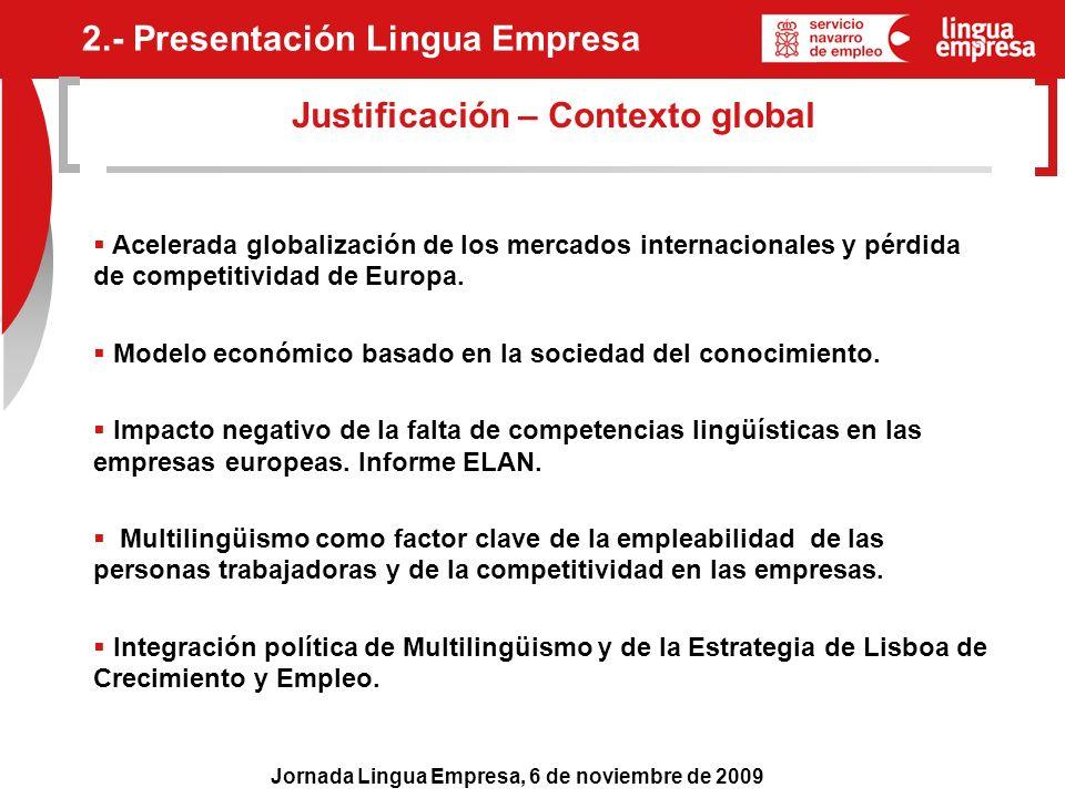 Jornada Lingua Empresa, 6 de noviembre de 2009 Justificación – Contexto global 2.- Presentación Lingua Empresa Acelerada globalización de los mercados
