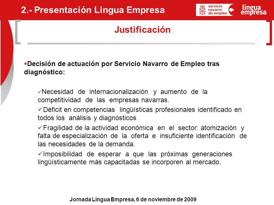 Jornada Lingua Empresa, 6 de noviembre de 2009 Justificación Decisión de actuación por Servicio Navarro de Empleo tras diagnóstico: Necesidad de inter