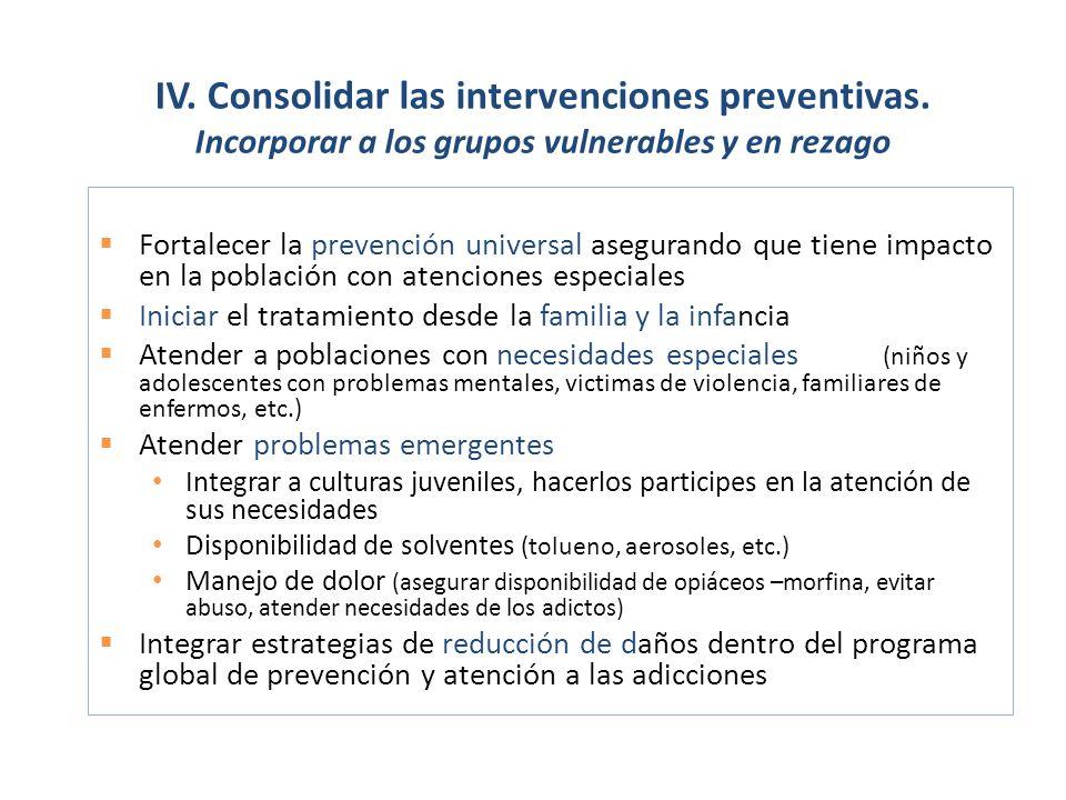 IV. Consolidar las intervenciones preventivas.