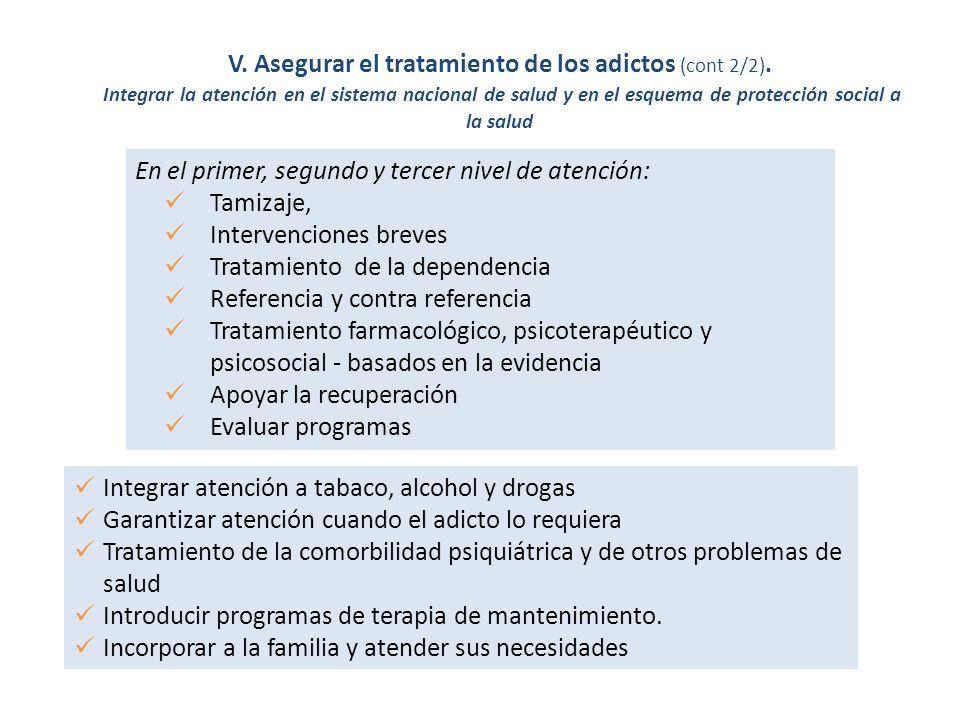 V. Asegurar el tratamiento de los adictos (cont 2/2).