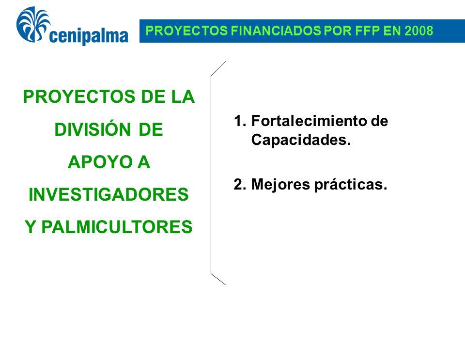 1.Fortalecimiento de Capacidades. 2.Mejores prácticas. PROYECTOS FINANCIADOS POR FFP EN 2008 PROYECTOS DE LA DIVISIÓN DE APOYO A INVESTIGADORES Y PALM