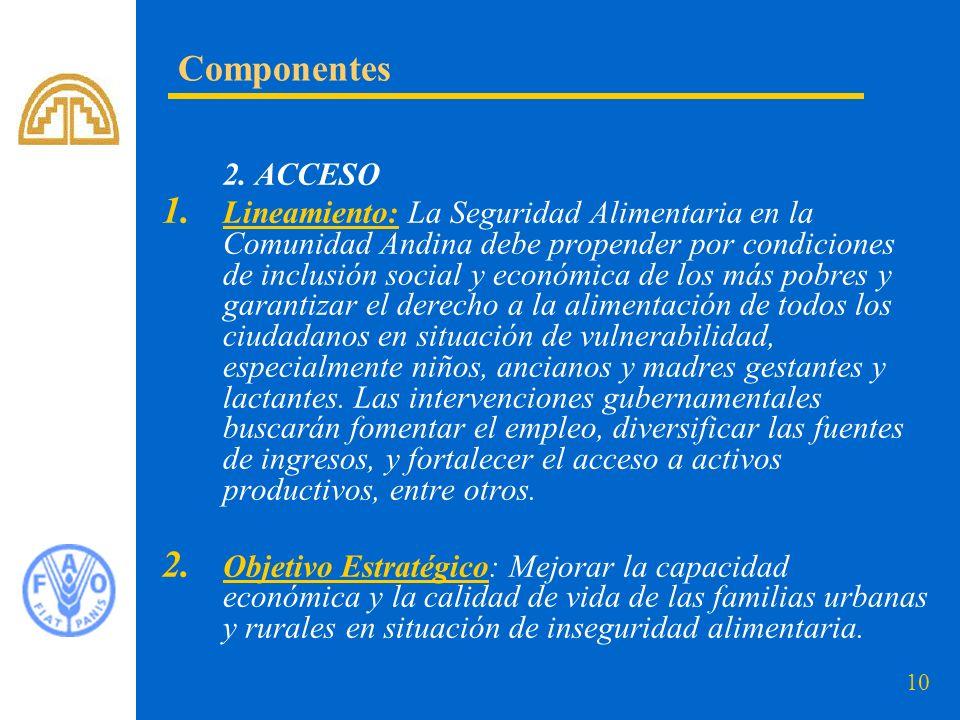 10 2. ACCESO 1. Lineamiento: La Seguridad Alimentaria en la Comunidad Andina debe propender por condiciones de inclusión social y económica de los más