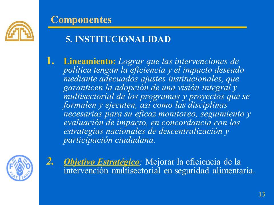 13 5. INSTITUCIONALIDAD 1. Lineamiento: Lograr que las intervenciones de política tengan la eficiencia y el impacto deseado mediante adecuados ajustes