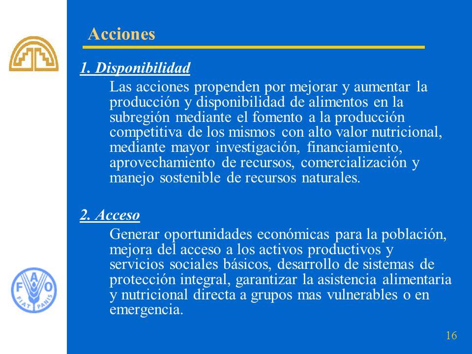16 1. Disponibilidad Las acciones propenden por mejorar y aumentar la producción y disponibilidad de alimentos en la subregión mediante el fomento a l