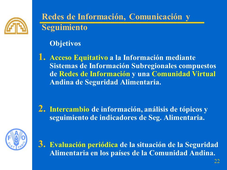 22 Objetivos 1. Acceso Equitativo a la Información mediante Sistemas de Información Subregionales compuestos de Redes de Información y una Comunidad V