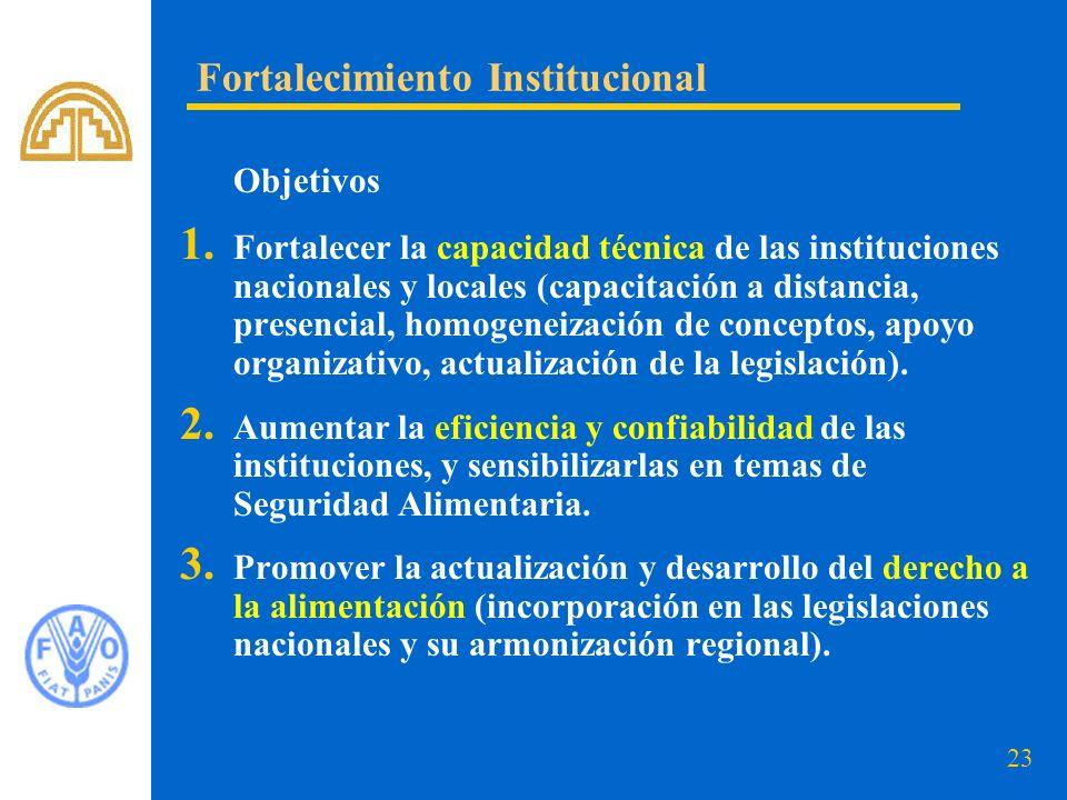 23 Objetivos 1. Fortalecer la capacidad técnica de las instituciones nacionales y locales (capacitación a distancia, presencial, homogeneización de co