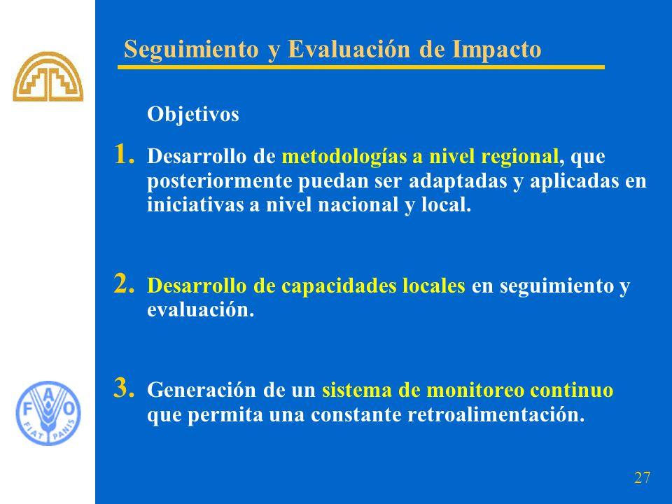 27 Objetivos 1. Desarrollo de metodologías a nivel regional, que posteriormente puedan ser adaptadas y aplicadas en iniciativas a nivel nacional y loc