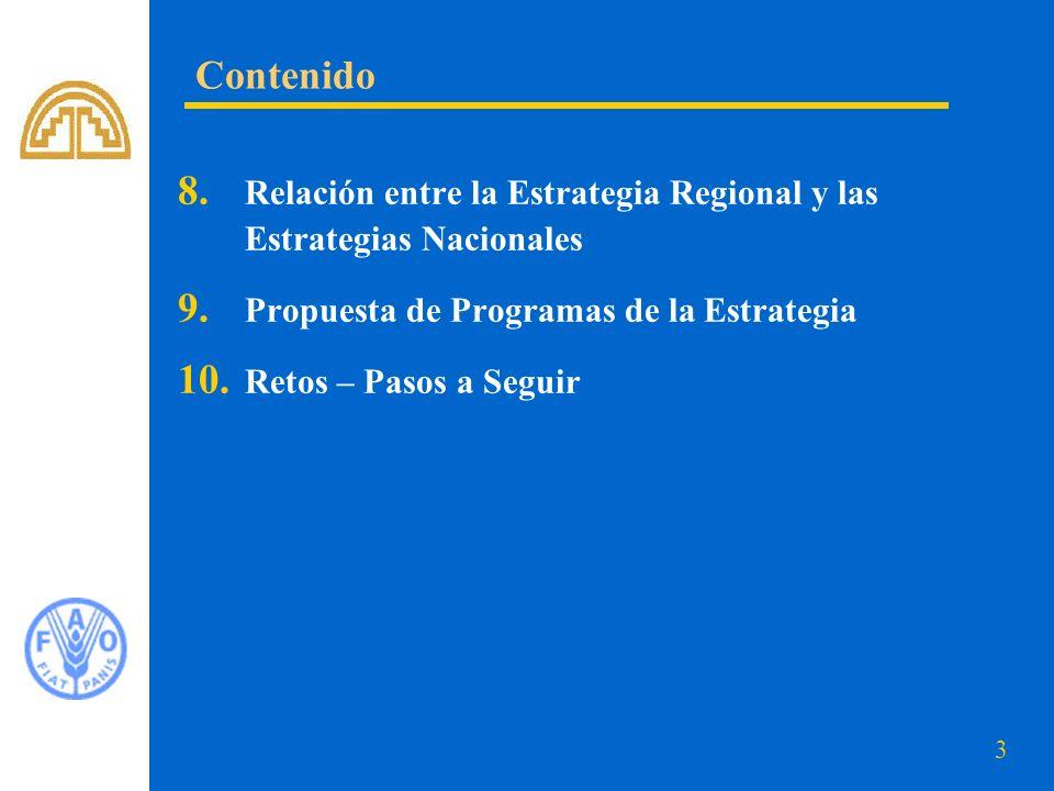 3 8. Relación entre la Estrategia Regional y las Estrategias Nacionales 9. Propuesta de Programas de la Estrategia 10. Retos – Pasos a Seguir Contenid