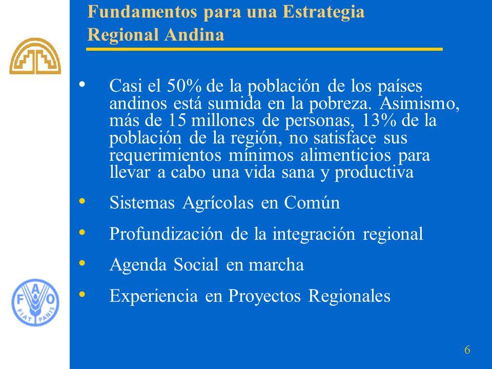 7 La visión se define a partir del compromiso asumido en la cumbre mundial de la alimentación, cinco años después así: Se reafirma el compromiso asumido en la Cumbre Mundial de la Alimentación de 1996 de reducir a la mitad, al menos, el número de personas desnutridas en los países andinos para el año 2015.